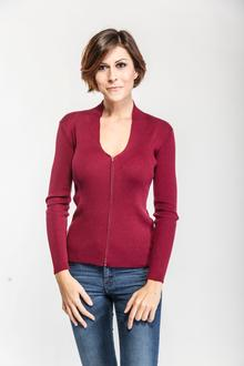 Cardigan a costine con zip, in latte, colore bordeaux