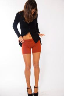 Mini leggins donna in lana merinos, colore mattone